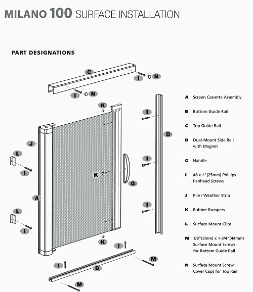 Genius milano 100 custom made retractable door screens for for Genius retractable screen